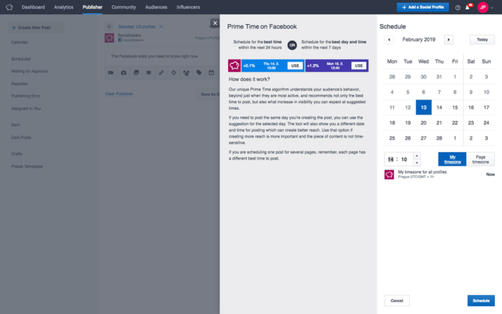 Facebook content publishing & scheduling in Socialbakers social media management