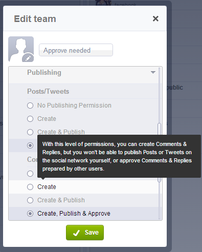 Assigning publishing permission with Socialbakers Builder